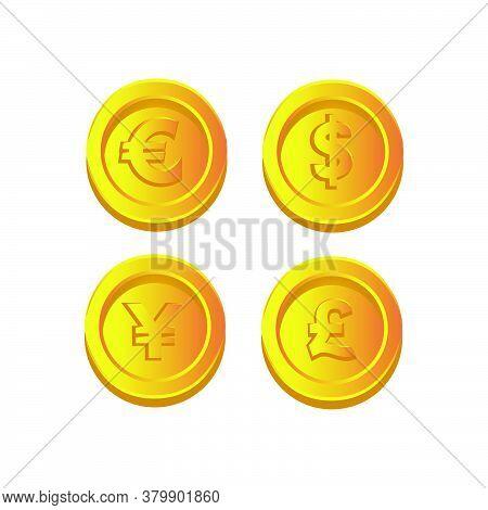 Dollar, Euro, Pound And Yen Gold Cos Illustration Icon Design