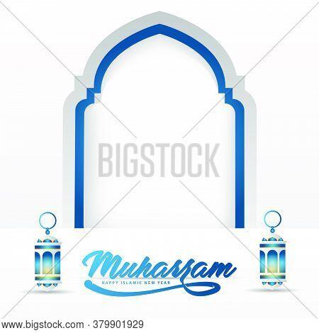Happy Muharram Islamic New Year Background Design With Lantern And Mosque Illustration