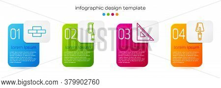 Set Line Bricks, Hacksaw, Triangular Ruler And Trowel. Business Infographic Template. Vector