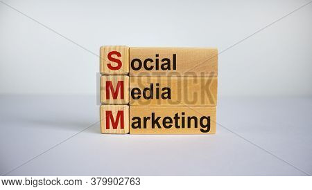 Concept Words 'smm, Social Media Marketing' On Cubes And Blocks On A Beautiful White Background. Bus