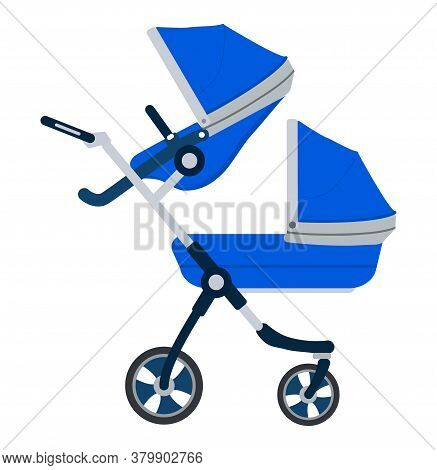 Stroller Icon Vector. Blue Carriage For Baby Isolated On White Color. Carrycot For Newborn.