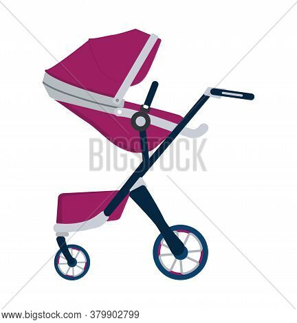Stroller Icon Vector. Red Carriage For Baby Isolated On White Color. Carrycot For Newborn.