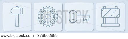 Set Line Hammer, Old Key, Circular Saw Blade And Road Barrier. White Square Button. Vector