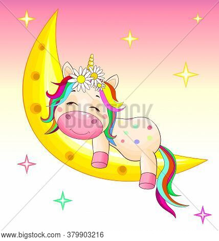 A Small Unicorn With A Multicolored Mane And Tail Sleeps On The Moon.