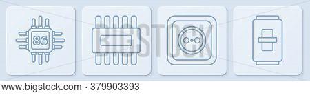 Set Line Processor With Microcircuits Cpu, Electrical Outlet, Processor With Microcircuits Cpu And E