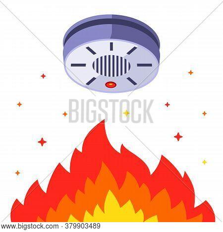 Smoke Detector Against Indoor Fire. Building Smoke Alarm. Flat Vector Illustration