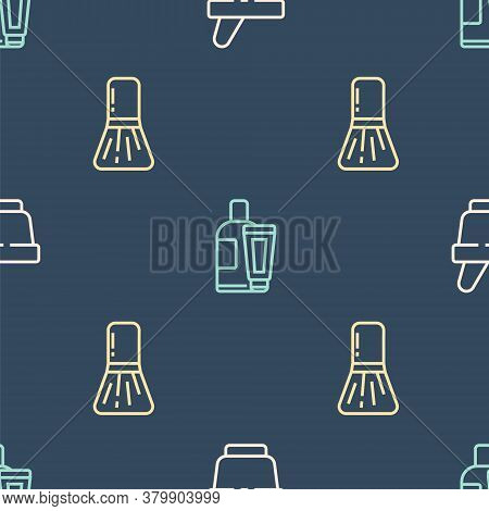 Set Line Mortar And Pestle, Makeup Brush And Cream Lotion Cosmetic Tube On Seamless Pattern. Vector