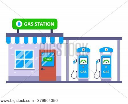 Car Gas Station By The Road. Roadside Cafe. Flat Vector Illustration Isolated On White Background.