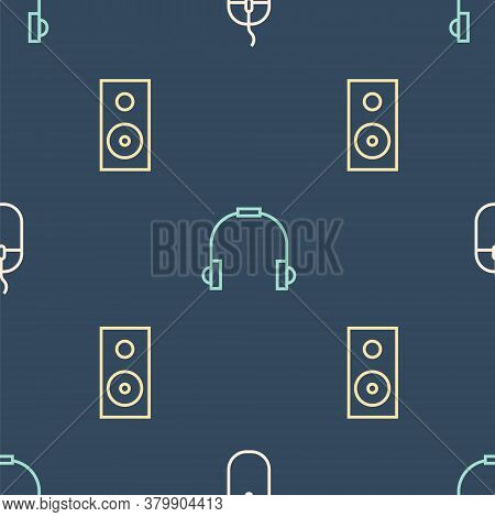 Set Line Computer Mouse, Stereo Speaker And Headphones On Seamless Pattern. Vector