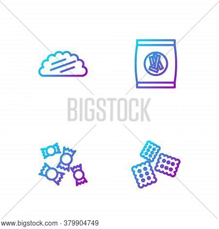Set Line Cracker Biscuit, Candy, Taco With Tortilla And Hard Bread Chucks Crackers. Gradient Color I