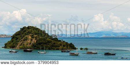 Palua Pungua Besar Island And Boats Near Labuan Bajo, During The Day, Flores, Indonesia
