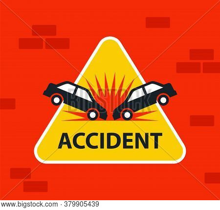 Triangular Yellow Car Accident Sign. Head-on Collision Of Vehicles On The Road. Flat Vector Illustra