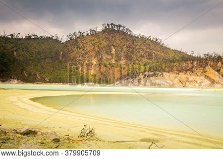 Long Exposure Of Kawah Putih Volcanic Sulphur Lake Inside The Crater, Bandung, Indonesia