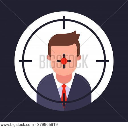Contract Killing Of A Person. Kill A Business Competitor. The Killer Is Doing The Job. Flat Vector I