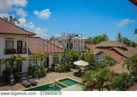 Lombok, Indonesia - October 11th 2017: A Typical Luxury Indonesian Villa In Kuta, Lombok, Indonesia