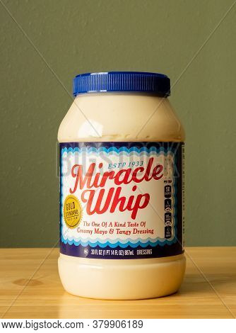 Bemidji, Mn - 20 May 2020: Jar Of Creamy, Tangy, Miracle Whip Salad Dressing On A Wooden Counter.