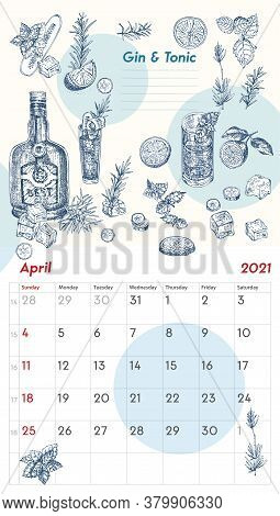 2021 Page Of Wall Vintage Calendar Planner. April Month. Week Starts On Sunday. Alcohol Bar Theme. G
