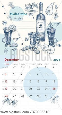 2021 Page Of Wall Vintage Calendar Planner. December Month. Week Starts On Sunday. Alcohol Bar Theme
