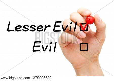 Choose The Lesser Of Two Evils Idiom Concept. Hand Drawing Red Check Mark With Marker On Lesser Evil