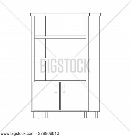 Empty Office Or Home Cupboard Line Art Icon Isolated On White Background. Black Line Book Rack Stora