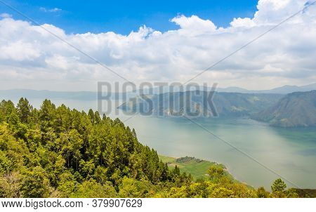 A View Over The Largest Volcanic Crater Lake In The World, Lake Toba, North Sumatra Indonesia