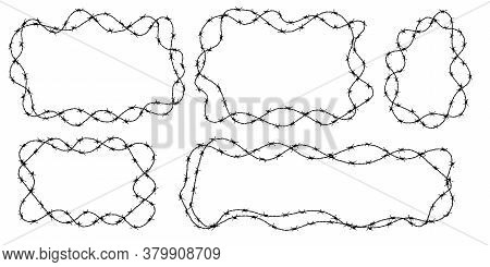Twisted Barbed Wire Silhouettes Set In Rounded And Square Shapes. Vector Illustration Of Steel Black