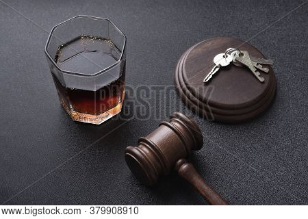 Judges Hammer And Alcohol Liquor. Concept For Drink Driving. Justice Legal And Jurisprudence.