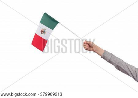 Child Holds Flag Of Mexico Isolated On White Background