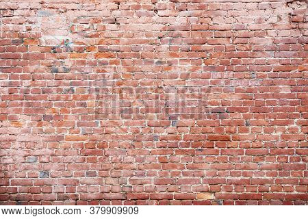 Red Brick Wall, Wide Panorama Of Masonry, Background, Texture Grunge Background.