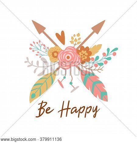 Boho Chic Arrow With Floral Bouquet. Ethnic Arrow Hand Drawn Bohemian Flowers, Feathers. Tribal Elem
