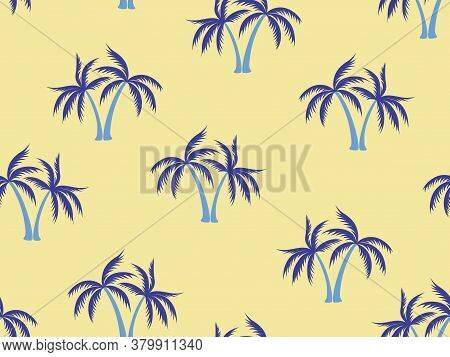 Blue Palm Tree Pattern Textile Material Tropical Forest Background. Beautiful Vector Wallpaper Repea