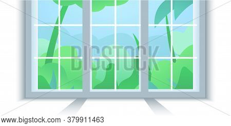 Window Frame Illustration. Vector Illustration Of A New Installed Wide Pvc Window Frame. Green Lawn