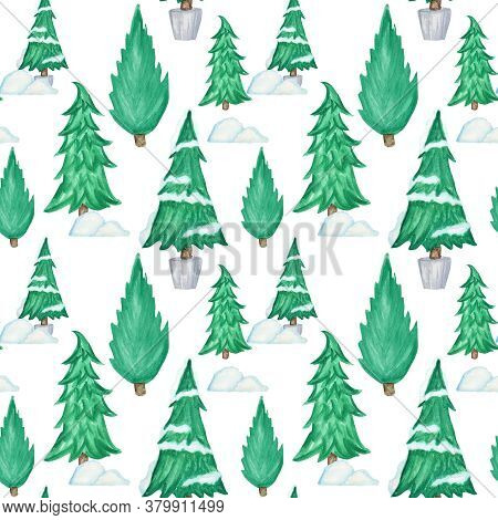 New Year Christmas Tree Watercolor Seamless Pattern On White Background. Hand Drawn Illustration For