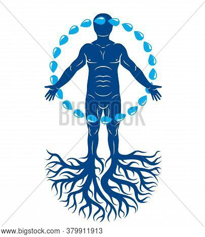 Vector Illustration Of Athletic Man Composed With Tree Roots And Circle Of Water Drops, Human Water