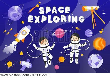 Male And Female Austronauts With Planets, Stars, Rocket, Spaceship And Different Cosmic Items. Two H