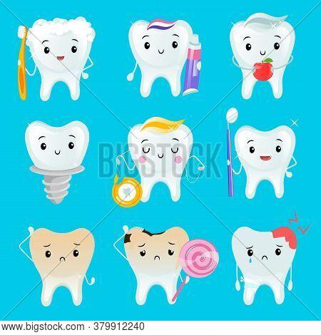 Set Of Cartoon Teeth. Vector Illustration Of Different Teeth On Blue Background. Happy Healthy Teeth