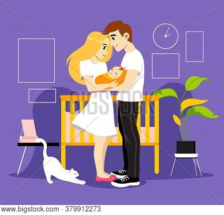 Young Parents Couple Holding Their Newborn Baby. Kid S Bedroom With Cradle, Plants And Cat. Happy Sm