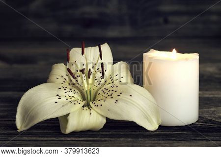 Candle And White Lily On Dark Background With Copy Space. Sympathy Card