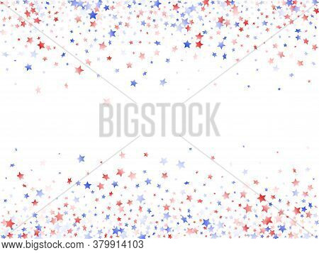 American Presidents Day Stars Background. Holiday Confetti In Usa Flag Colors For Patriot Day. Vivid