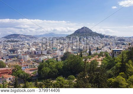 Athens, Greece - August 13 2016: Panoramic View Of Athens City And Mount Lycabettus From The Acropol