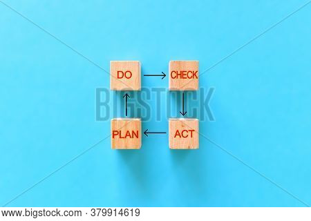 Plan Do Check Act. Wooden Blocks With Plan Do Check Act Inscriptions On A Blue Background