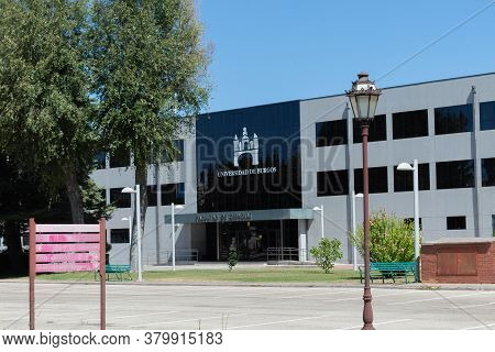 Burgos, Spain - August 05th - 2020: Building Of The Faculty Of Sciences Of The University Of Burgos