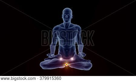 3d Illustration With A Silhouette In An Enlightened Yoga Meditation Pose With Highlighted Hindu Basa