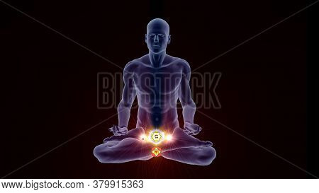 3d Illustration With A Silhouette In An Enlightened Yoga Meditation Pose With Two Highlighted Hindu