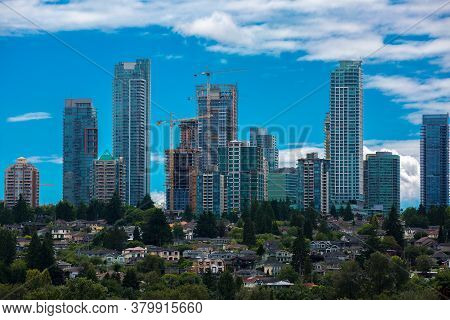 Construction Of New Residential District  In The City Of Burnaby, High-rise Buildings Under Construc