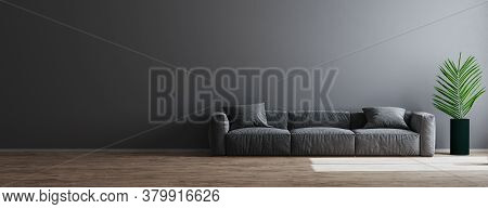 Living Room Interior Design Scene With Gray Sofa, Green Plant And Empty Gray Wall On Wooden Floor, R