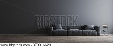 Living Room Interior Design Scene With Gray Sofa And Empty Gray Wall On Wooden Floor, Room Interior