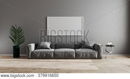 Horizontal Frame In Bright Modern Living Room With Gray Sofa, Green Plant And Coffee Table On Wooden