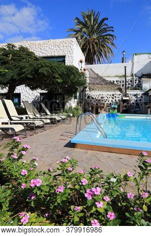 Gran Canaria, Spain - November 28, 2015: Generic Small Hotel Pool In Gran Canaria, Spain. Canary Isl