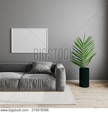 Blank Horizontal White Picture Frame In Modern Living Room Interior Background, Scandinavian Style L